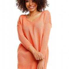 Pulover pentru femei, tricotat, scurt, asimetric, portocaliu- 30045, Orange, Bumbac