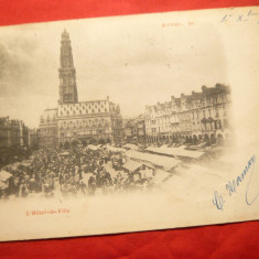 Ilustrata Arras -Pas de Calais Franta-Primaria, circulat 1899 la Bucuresti, Circulata, Printata