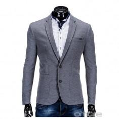 Sacou pentru barbati, gri, casual, slim fit, cu buzunare aplicate, elegant, inchidere doi nasturi - M56 - Sacou barbati, Marime: M, XL