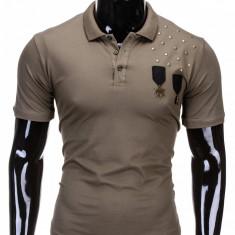 Tricou pentru barbati polo, capitan, stil militar, slim fit, casual - S704 - verde