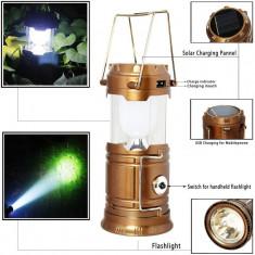FELINAR SOLAR LED + Lanterna solara 6+1 LED LAMPA CAMPING PESCUIT 220V