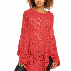 Pulover pentru femei, tricotat, lung, asimetric, rosu. stil cardigan - 30012 - Pulover dama, Acril