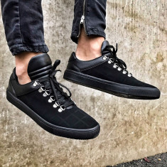 Pantofi sport pentru barbati, negri, cu siret, design unic - two - Tenisi barbati, Marime: 41, 44