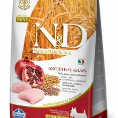 N&D Low Ancestral Grain formula Canin? Pui & Rodie Adult Mini 2,5 Kg