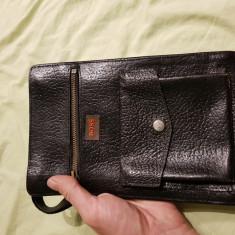 Hugo Boss-geanta de mână din piele naturala - Geanta Barbati, Marime: Mica, Culoare: Negru