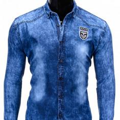 Camasa pentru barbati, de blugi, albastru, cu guler, slim fit, elastica, bumbac - K330 - Camasa barbati, Marime: L
