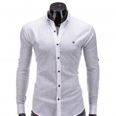 Camasa pentru barbati, alb, simpla, uni, slim fit, elastica, cu guler, stil in - K252 - Camasa barbati, Marime: XXL