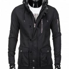 Jacheta pentru barbati, stil geaca, negru, fermoar, model slim, buzunare laterale, gluga - c301 - Jacheta barbati, Marime: XL