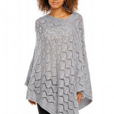 Pulover pentru femei, tricotat, lung, asimetric, gri-deschis. stil cardigan - 30012 - Pulover dama, Acril