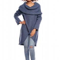 Pulover pentru femei, tricotat, lung, asimetric, bleumarin, stil cardigan - 30051 - Pulover dama, Acril