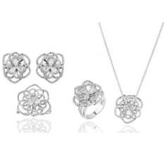Set Borealy Simulated Sapphire Colier, Cercei, Brosa si Inel Camellia Luxury