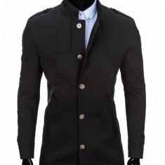 Trench pentru barbati, negru, stil palton, elegant, nasturi, casual, slim fit - C269, M, XL