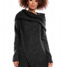 Pulover pentru femei, tricotat, lung, asimetric, negru, stil cardigan - 30051 - Pulover dama, Acril