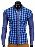 Camasa pentru barbati, albastru, in carouri mici, slim fit, casual, elastica, cu guler - k301, M, S, Maneca lunga