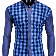 Camasa pentru barbati, albastru, in carouri mici, slim fit, casual, elastica, cu guler - k301 - Camasa barbati, Marime: S, M