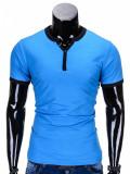 Tricou pentru barbati, bleu deschis simplu, slim fit, mulat pe corp, bumbac - S651, S