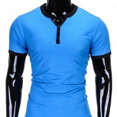 Tricou pentru barbati, bleu deschis simplu, slim fit, mulat pe corp, bumbac - S651 - Tricou barbati, Marime: L, XXL