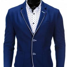 Sacou pentru barbati, bleu, casual, slim fit, cu buzunare aplicate, elegant, inchidere doi nasturi - M81 - Sacou barbati, Marime: S, M, XL, XXL
