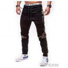 Pantaloni pentru barbati, negru, cu insertii de camuflaj, stli militar, army, banda jos, casual - P387 - Pantaloni barbati, Marime: M, XL, XXL