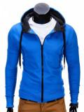 Hanorac pentru barbati, albastru, cu fermoar si gluga, slim fit, sport - B485, XL