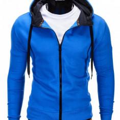 Hanorac pentru barbati, albastru, cu fermoar si gluga, slim fit, sport - B485 - Hanorac barbati, Marime: XL