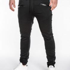 Pantaloni pentru barbati de trening, negru, buzunare laterale, fermoare decorative, banda jos, cu siret, bumbac - p427 - Pantaloni barbati, Marime: L, XL