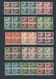 Romania1945 - UZUALE REGELE MIHAI I, serie blocuri de 4, MNH, AA73-78, Nestampilat