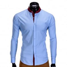 Camasa pentru barbati, albastru, tunica, casual, slim fit, guler visiniu - k308 - Camasa barbati, Marime: XL, Maneca lunga