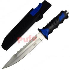 Cutit baioneta 34 cm, lama dubla, zimtat, teaca material pvc - Briceag/Cutit vanatoare