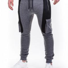 Pantaloni pentru barbati de trening, gri-inchis, buzunare laterale, fermoare, banda jos, cu siret, bumbac - p424 - Pantaloni barbati, Marime: XL, XXL