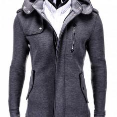 Jacheta pentru barbati, gri, stil palton, nasturi si fermoar, casual, slim fit - C200 - Jacheta barbati, Marime: S, M, XL, XXL