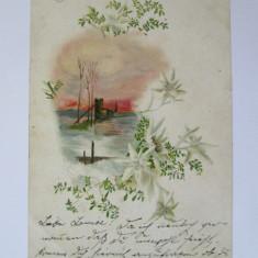 Carte postala litografie Salutari din Galati anii 1900