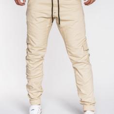 Pantaloni pentru barbati, bej, cu siret negru, banda jos, casual, buzunare laterale, elastic - P333 - Pantaloni barbati, Marime: M, XXL
