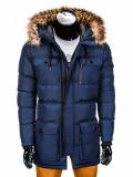 Geaca pentru barbati, de iarna, bleumarin, impermeabila, fermoar, model slim, buzunare laterale - c318, M, S