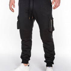 Pantaloni pentru barbati, negru, buzunare laterale, banda jos, cu siret, bumbac - p462 - Pantaloni barbati, Marime: XL