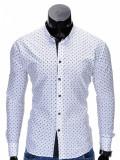 Camasa pentru barbati, alba, cu model, slim fit, casual, cu guler - k314, S, XXL, Maneca lunga