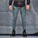 Blugi pentru barbati, verzi, slim fit, conici, casual, skinny, rupturi decorative discrete - 0067, 29, 30, Verde, Lungi