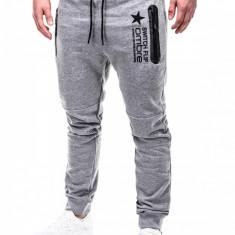 Pantaloni pentru barbati de trening, gri-deschis, fermoare, banda jos, cu siret, bumbac - p420 - Pantaloni barbati, Marime: S, M, L