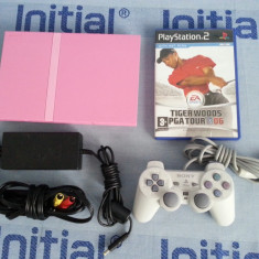 PlayStation 2 Sony slim pink + cd + maneta + alimentator +cabluTV consola roz joc PS2