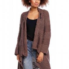 Pulover pentru femei, tricotat, lung, asimetric, maro, stil cardigan - 30049 - Pulover dama, Acril