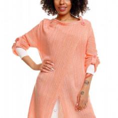 Pulover pentru femei, tricotat, lung, asimetric, somon. stil cardigan - 30041 - Pulover dama, Acril
