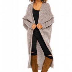 Pulover pentru femei, tricotat, lung, asimetric, cappuccino, stil cardigan - 30053C - Pulover dama, Acril