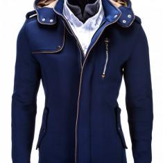 Jacheta pentru barbati, albastru, stil palton, nasturi si fermoar, casual, slim fit - C200 - Jacheta barbati, Marime: S, M, L, XXL