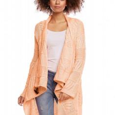 Pulover pentru femei, tricotat, lung, asimetric, portocaliu, stil cardigan - 30049 - Pulover dama, Orange, Acril