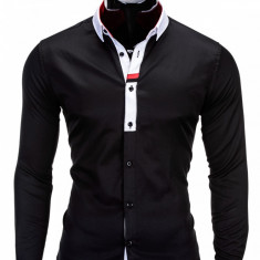 Camasa pentru barbati, negru, cu guler, slim fit, elastica, bumbac - K166 - Camasa barbati, Marime: S, M, XXL, Maneca lunga