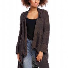 Pulover pentru femei, tricotat, lung, asimetric, gri-inchis, stil cardigan - 30049 - Pulover dama, Acril