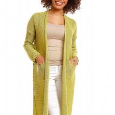 Pulover pentru femei, tricotat, lung, asimetric, verde, stil cardigan - 30048 - Pulover dama, Acril