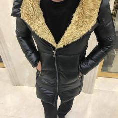 Geaca de piele barbati groasa de iarna IGA eco Neagra cu blana slim fit fashion - Geaca barbati, Marime: XL, Culoare: Negru
