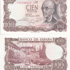 SPANIA 100 pesetas 1970 UNC!!! - bancnota europa