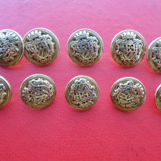Lot 10 nasturi metalici aurii, heraldica, pt sacou barbati